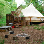 The Beautiful Bell Tent Picnic table and camp fire