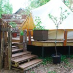 Steps leading to the bell tent