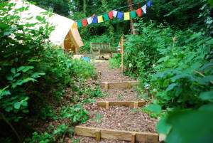 Steps to the bell tent