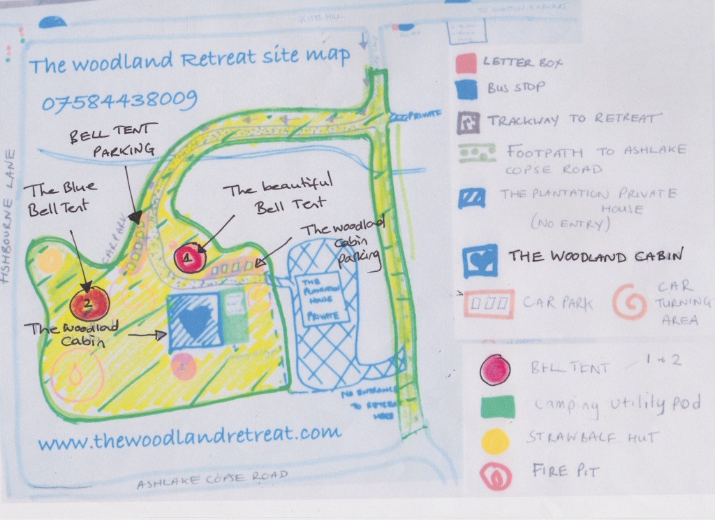 The woodland retreat map for accomidation
