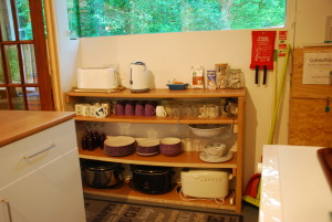 shelving unit with all the cooking equipment you need
